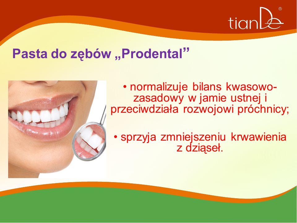 """W skład pasty do zębów """"Prodental wchodzą: peptydy, kompleks ekstraktów roślinnych, miętowy olejek eteryczny oraz olej z pestek winogron; ekstrakt z miodu."""