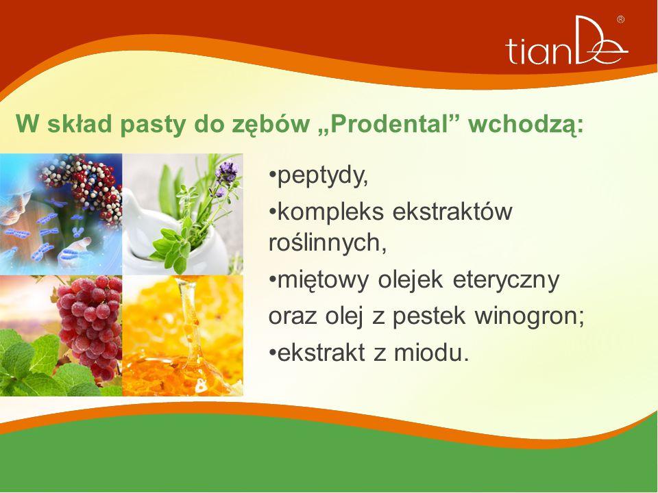 """W skład pasty do zębów """"Prodental"""" wchodzą: peptydy, kompleks ekstraktów roślinnych, miętowy olejek eteryczny oraz olej z pestek winogron; ekstrakt z"""