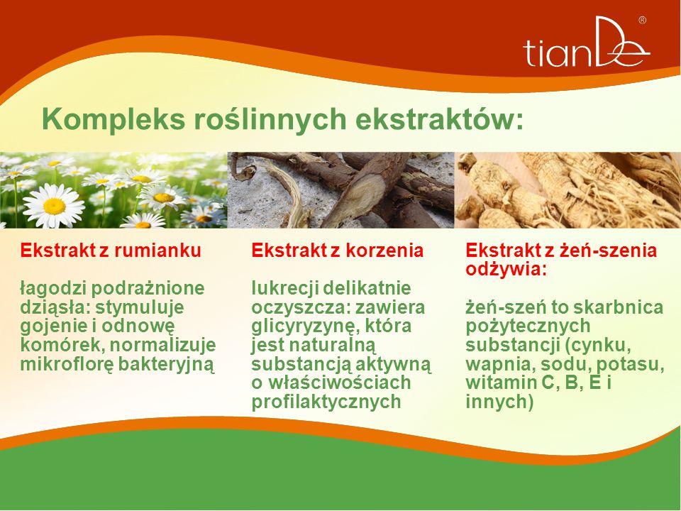 Kompleks roślinnych ekstraktów: Ekstrakt z rumianku łagodzi podrażnione dziąsła: stymuluje gojenie i odnowę komórek, normalizuje mikroflorę bakteryjną