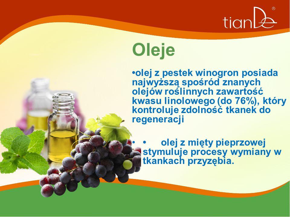 Oleje olej z pestek winogron posiada najwyższą spośród znanych olejów roślinnych zawartość kwasu linolowego (do 76%), który kontroluje zdolność tkanek