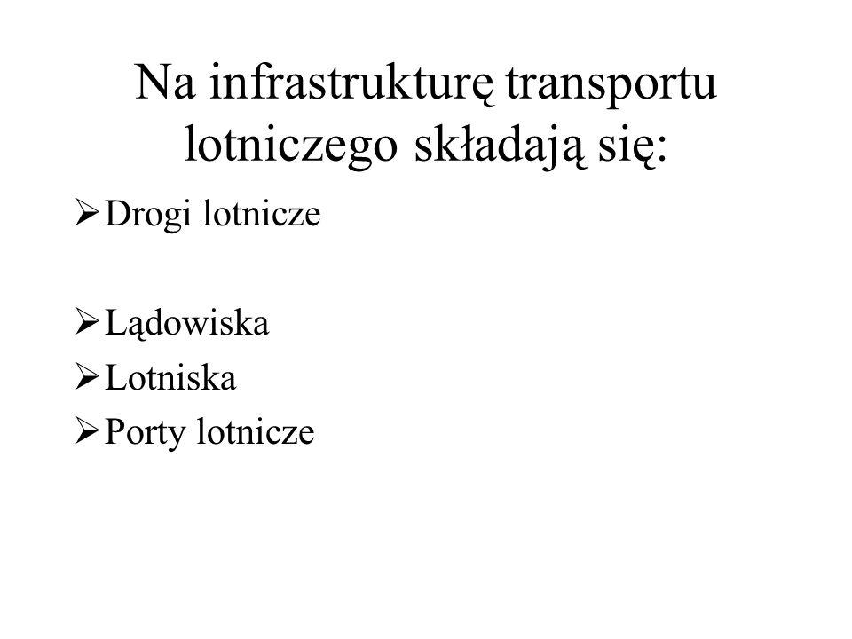 Na infrastrukturę transportu lotniczego składają się:  Drogi lotnicze  Lądowiska  Lotniska  Porty lotnicze