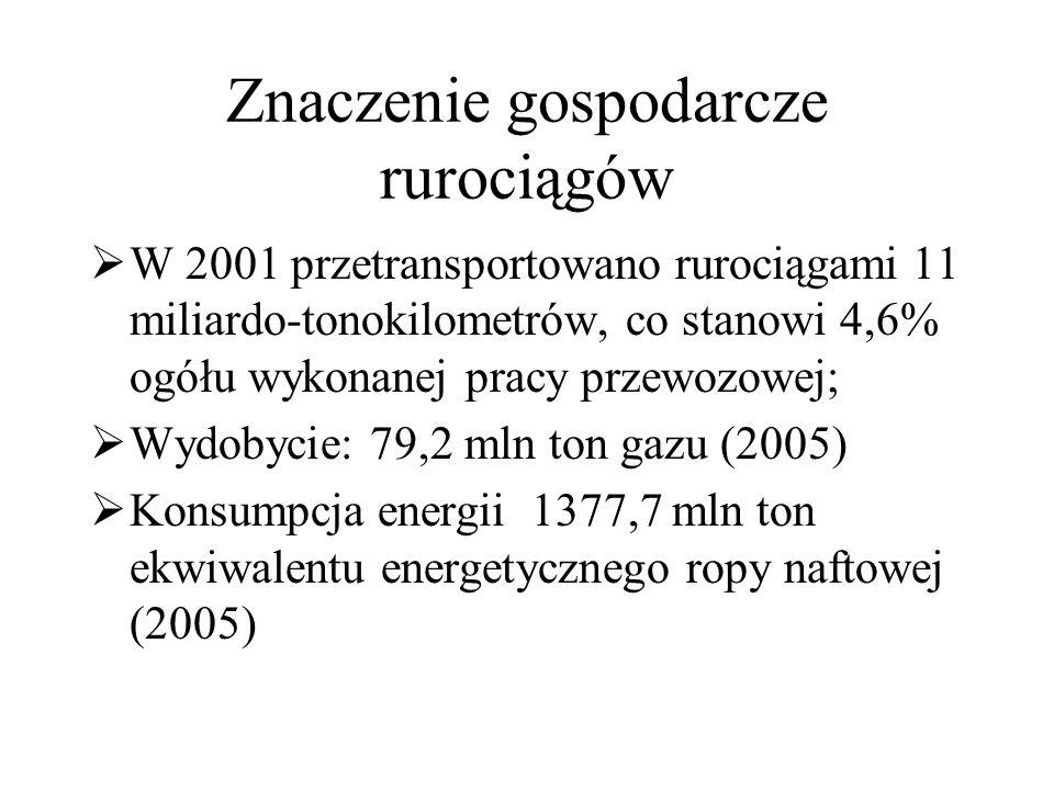 Znaczenie gospodarcze rurociągów  W 2001 przetransportowano rurociągami 11 miliardo-tonokilometrów, co stanowi 4,6% ogółu wykonanej pracy przewozowej