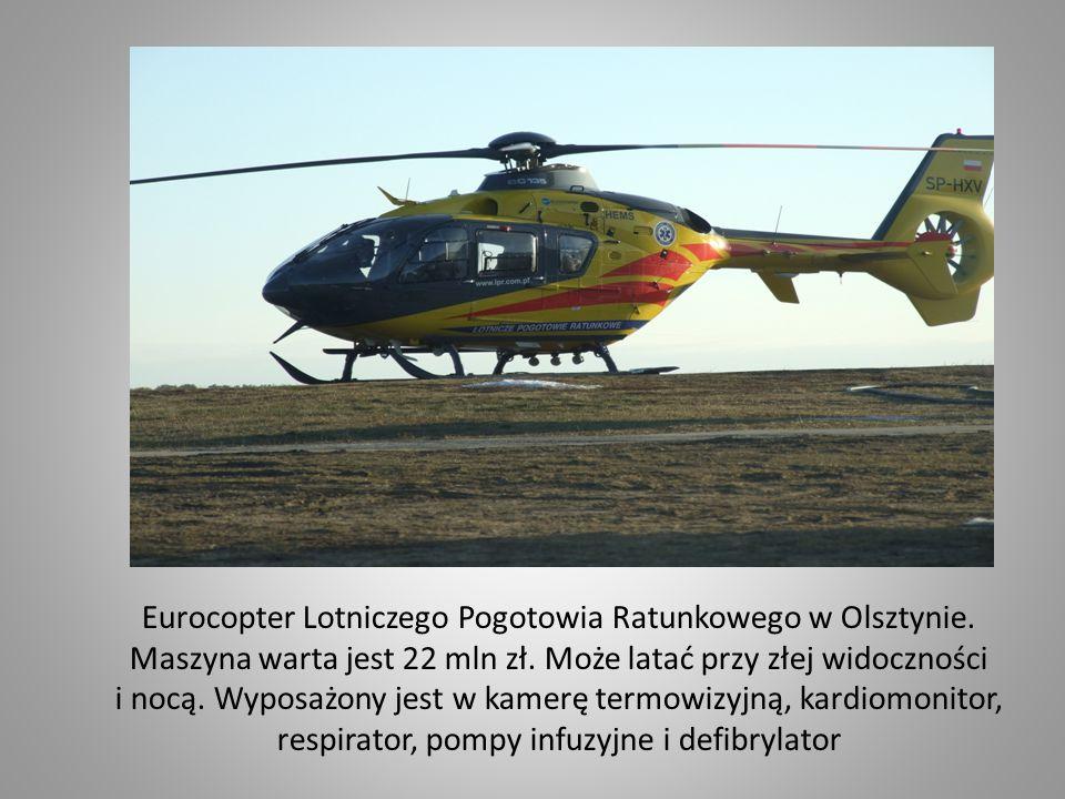 Eurocopter Lotniczego Pogotowia Ratunkowego w Olsztynie. Maszyna warta jest 22 mln zł. Może latać przy złej widoczności i nocą. Wyposażony jest w kame