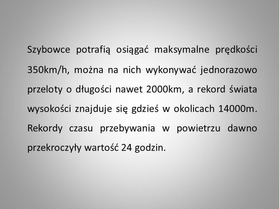 Szybowce potrafią osiągać maksymalne prędkości 350km/h, można na nich wykonywać jednorazowo przeloty o długości nawet 2000km, a rekord świata wysokośc