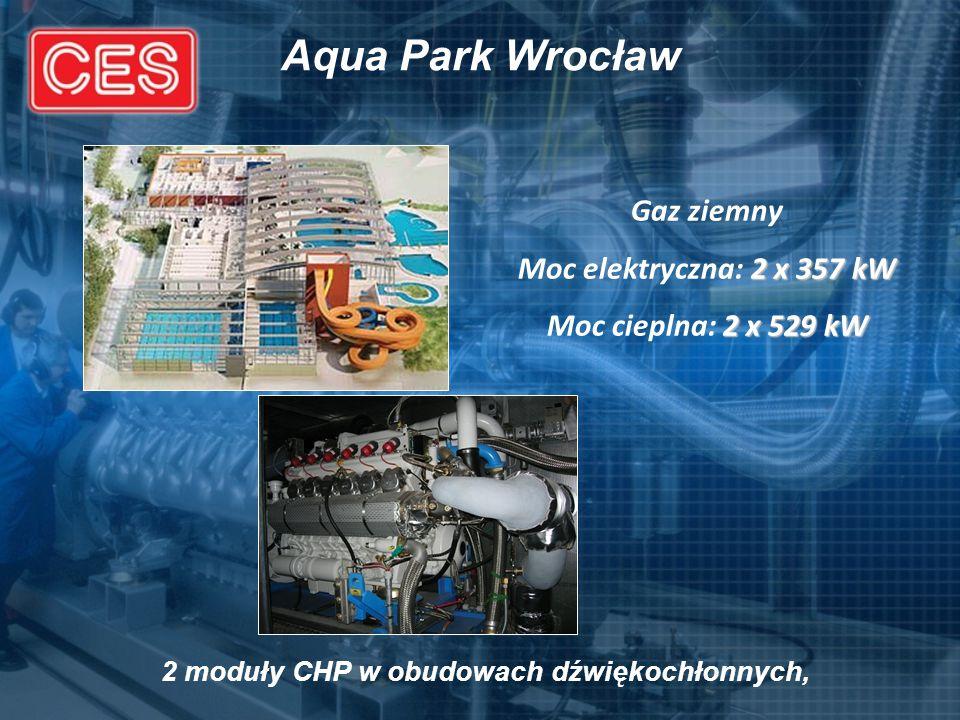 Aqua Park Wrocław Gaz ziemny 2 x 357 kW Moc elektryczna: 2 x 357 kW 2 x 529 kW Moc cieplna: 2 x 529 kW 2 moduły CHP w obudowach dźwiękochłonnych,