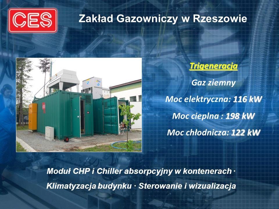 Zakład Gazowniczy w Rzeszowie Trigeneracja Gaz ziemny 116 kW Moc elektryczna: 116 kW 198 kW Moc cieplna : 198 kW 122 kW Moc chłodnicza: 122 kW Moduł C