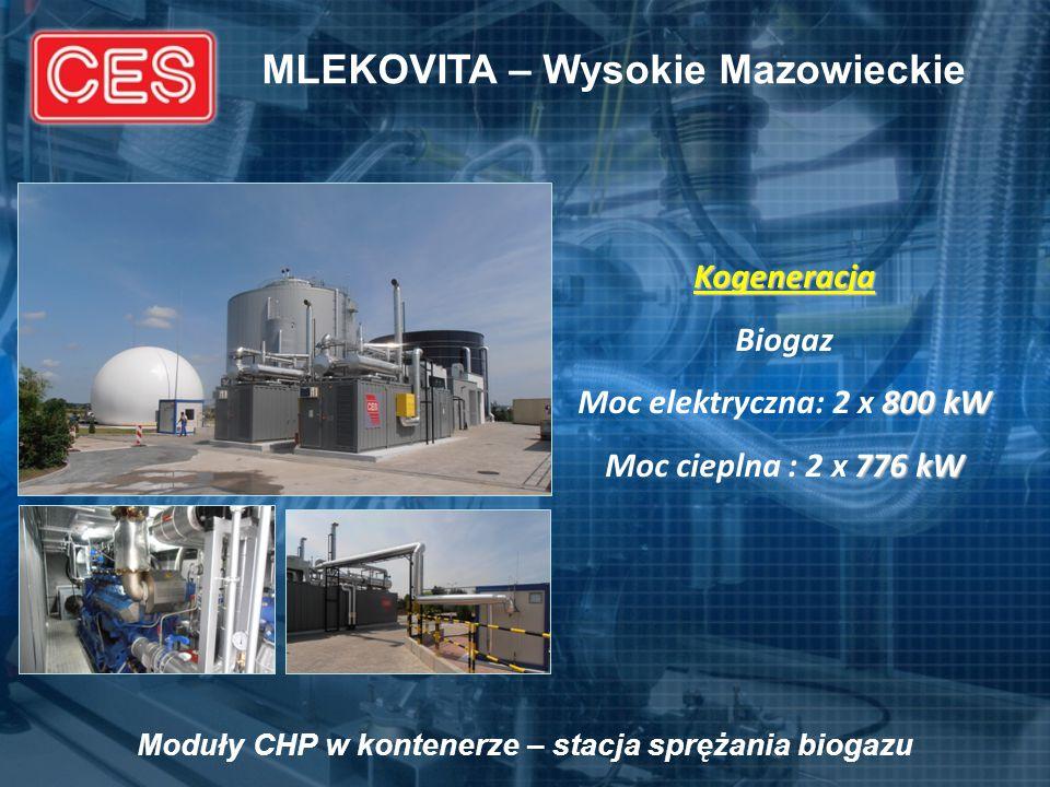 MLEKOVITA – Wysokie Mazowieckie Kogeneracja Biogaz 800 kW Moc elektryczna: 2 x 800 kW 776 kW Moc cieplna : 2 x 776 kW Moduły CHP w kontenerze – stacja
