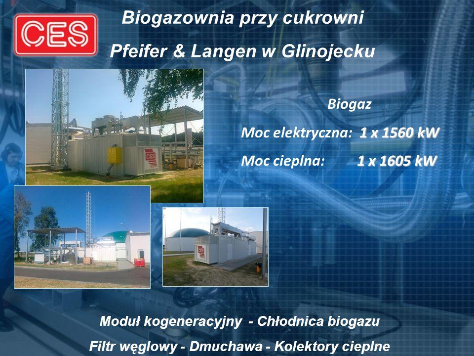 Biogazownia przy cukrowni Pfeifer & Langen w Glinojecku Biogaz 1 x 1560 kW Moc elektryczna: 1 x 1560 kW 1 x 1605 kW Moc cieplna: 1 x 1605 kW Moduł kog