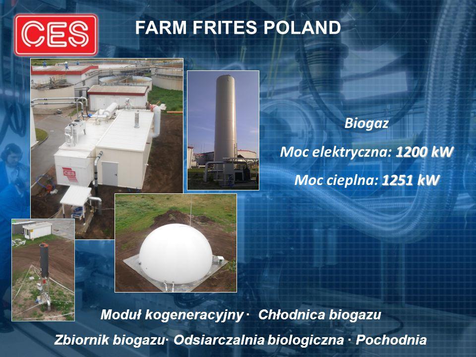 FARM FRITES POLAND Biogaz 1200 kW Moc elektryczna: 1200 kW 1251 kW Moc cieplna: 1251 kW Moduł kogeneracyjny · Chłodnica biogazu Zbiornik biogazu· Odsi