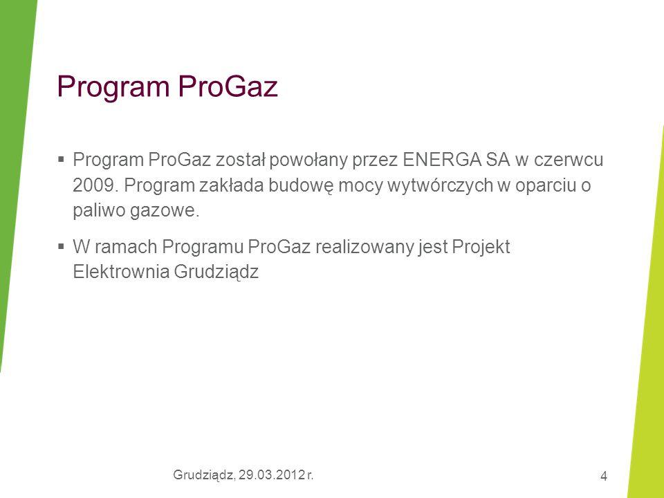 Grudziądz, 29.03.2012 r. 4 Program ProGaz  Program ProGaz został powołany przez ENERGA SA w czerwcu 2009. Program zakłada budowę mocy wytwórczych w o
