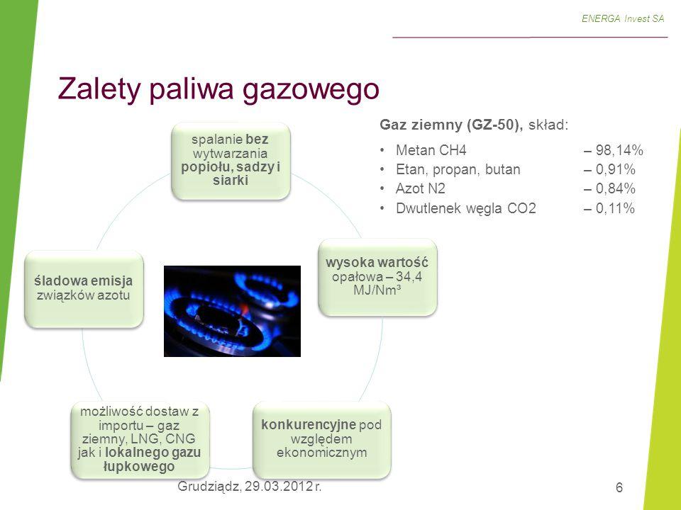 6 ENERGA Invest SA Gaz ziemny (GZ-50), skład: Metan CH4 – 98,14% Etan, propan, butan – 0,91% Azot N2– 0,84% Dwutlenek węgla CO2 – 0,11% spalanie bez w