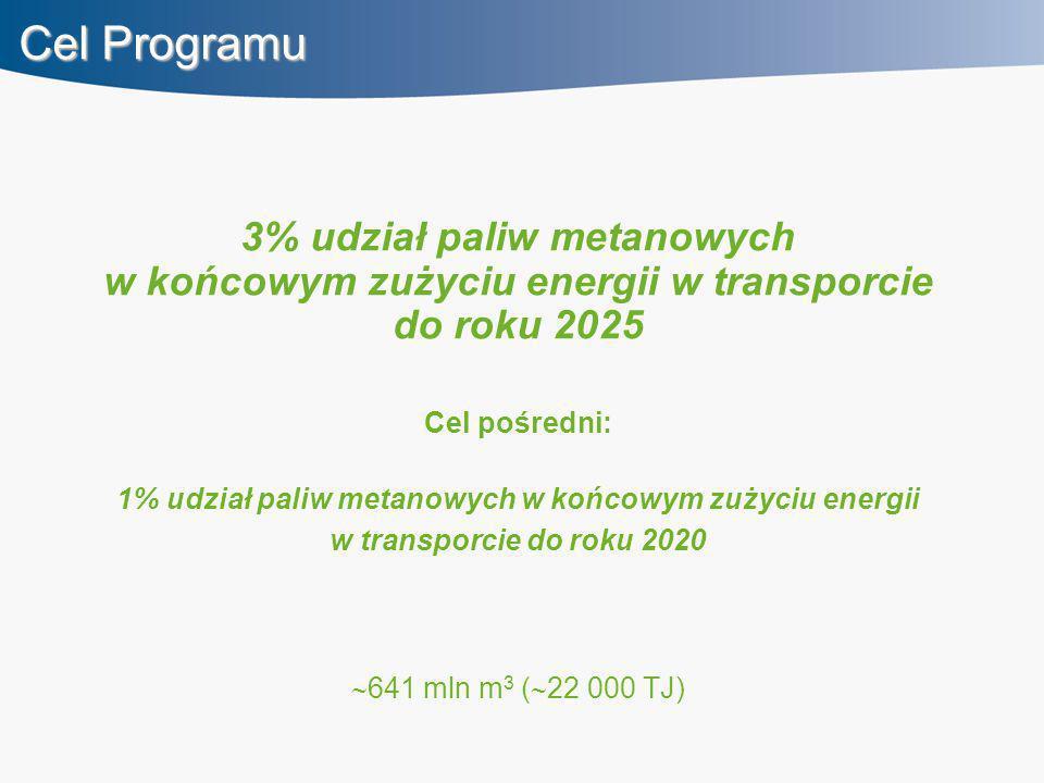 Cel Programu 3% udział paliw metanowych w końcowym zużyciu energii w transporcie do roku 2025 Cel pośredni: 1% udział paliw metanowych w końcowym zużyciu energii w transporcie do roku 2020  641 mln m 3 (  22 000 TJ)