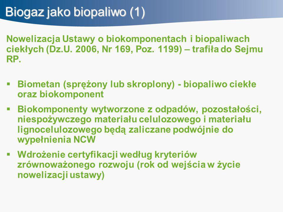 Biogaz jako biopaliwo (1) Nowelizacja Ustawy o biokomponentach i biopaliwach ciekłych (Dz.U. 2006, Nr 169, Poz. 1199) – trafiła do Sejmu RP.  Biometa