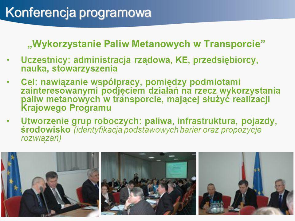 """Konferencja programowa """"Wykorzystanie Paliw Metanowych w Transporcie Uczestnicy: administracja rządowa, KE, przedsiębiorcy, nauka, stowarzyszenia Cel: nawiązanie współpracy, pomiędzy podmiotami zainteresowanymi podjęciem działań na rzecz wykorzystania paliw metanowych w transporcie, mającej służyć realizacji Krajowego Programu Utworzenie grup roboczych: paliwa, infrastruktura, pojazdy, środowisko (identyfikacja podstawowych barier oraz propozycje rozwiązań)"""