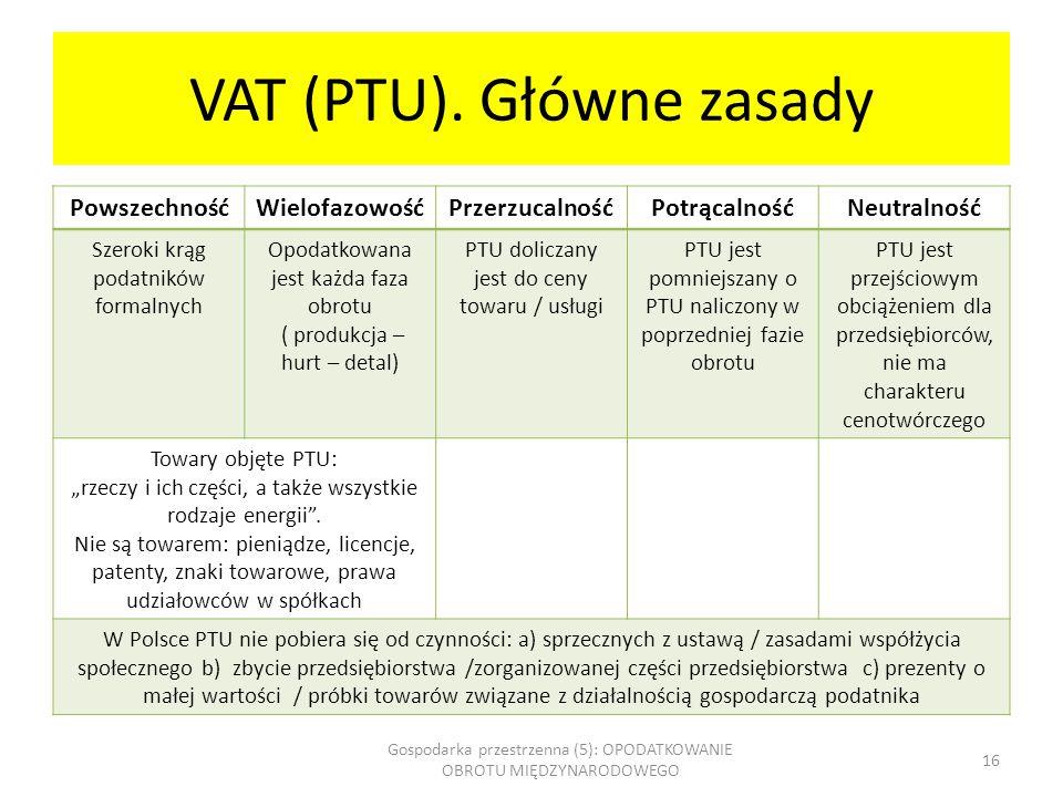 VAT (PTU). Główne zasady PowszechnośćWielofazowośćPrzerzucalnośćPotrącalnośćNeutralność Szeroki krąg podatników formalnych Opodatkowana jest każda faz