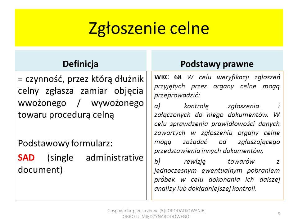 Akcyza: towary akcyzowe UE Kraje zachodnio- europejskie Polska (do 2004 roku) Polska (obecnie) Towary zharmonizowane: 1.Napoje alkoholowe 2.Wyroby tytoniowe 3.Oleje mineralne Napoje alkoholowe Towary niezharmonizowane – wszystkie pozostałe typu: KawaSprzęt RTV Wyroby tytoniowe Jednorazowe opakowania z tworzyw sztucznych Jachty Samochody osobowe ZapalniczkiKosmetyki Energia elektryczna CzekoladaSprzęt do hazardu Wyroby energetyczne BaterieHerbataGuma do żuciaSól Woda mineralnaNawozyDrożdżeBroń myśliwska Gospodarka przestrzenna (5): OPODATKOWANIE OBROTU MIĘDZYNARODOWEGO 20