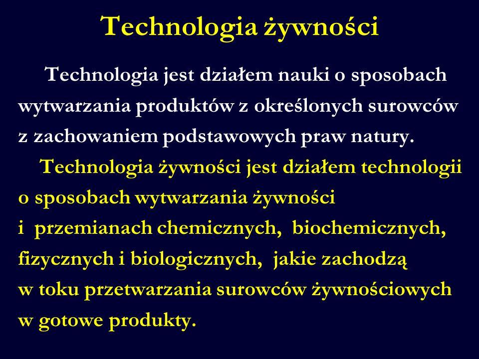 Technologia żywności Technologia jest działem nauki o sposobach wytwarzania produktów z określonych surowców z zachowaniem podstawowych praw natury. T