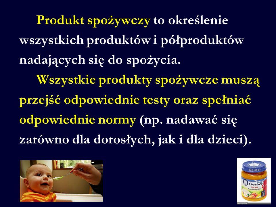Produkt spożywczy to określenie wszystkich produktów i półproduktów nadających się do spożycia. Wszystkie produkty spożywcze muszą przejść odpowiednie