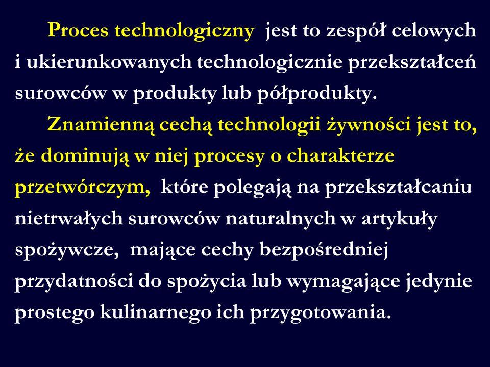 Proces technologiczny jest to zespół celowych i ukierunkowanych technologicznie przekształceń surowców w produkty lub półprodukty. Znamienną cechą tec