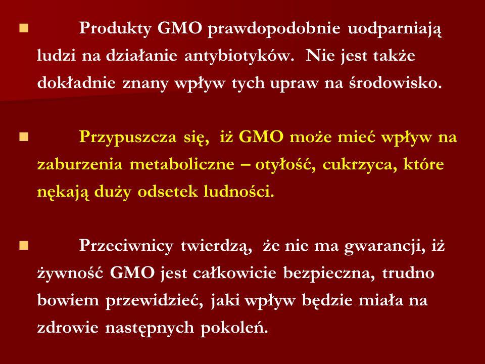 Produkty GMO prawdopodobnie uodparniają ludzi na działanie antybiotyków. Nie jest także dokładnie znany wpływ tych upraw na środowisko. Przypuszcza si