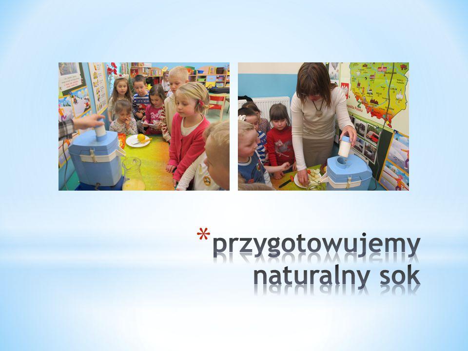 """Zajęcia z obszaru tematycznego: """"Uczymy się o jedzeniu w ekologicznym znaczeniu pozwoliły dzieciom przyswoić informacje na temat zdrowej żywności, która wpływa na nasz stan zdrowia, odporność, na dobre samopoczucie i energię."""