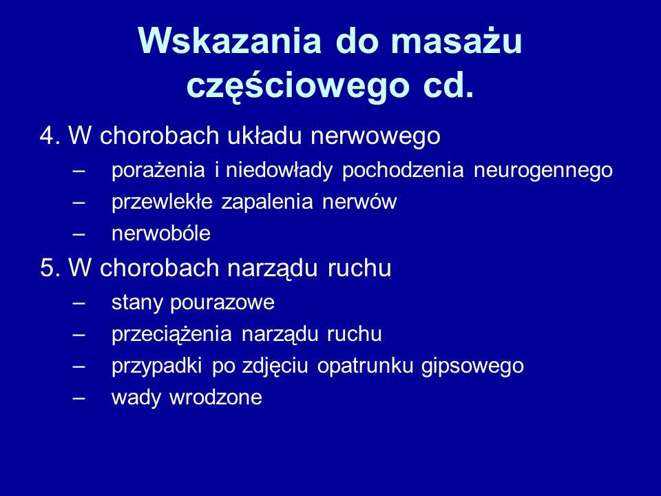 Wskazania do masażu częściowego cd. 4. W chorobach układu nerwowego –porażenia i niedowłady pochodzenia neurogennego –przewlekłe zapalenia nerwów –ner