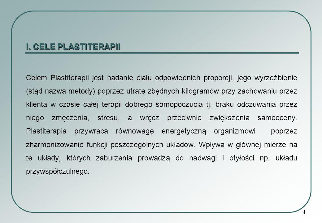 4 I. CELE PLASTITERAPII Celem Plastiterapii jest nadanie ciału odpowiednich proporcji, jego wyrzeźbienie (stąd nazwa metody) poprzez utratę zbędnych k