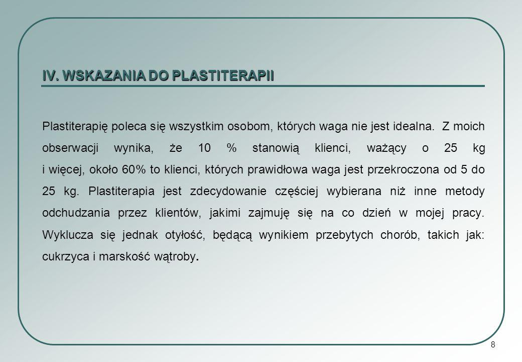 8 IV. WSKAZANIA DO PLASTITERAPII Plastiterapię poleca się wszystkim osobom, których waga nie jest idealna. Z moich obserwacji wynika, że 10 % stanowią