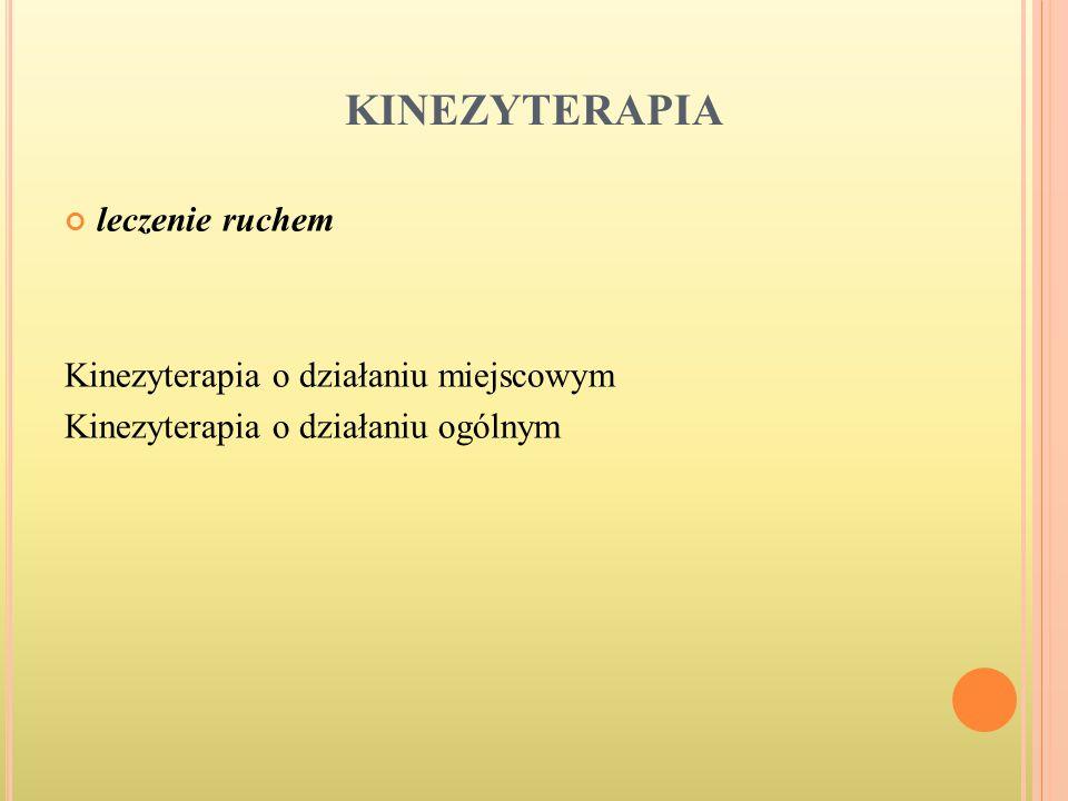 KINEZYTERAPIA leczenie ruchem Kinezyterapia o działaniu miejscowym Kinezyterapia o działaniu ogólnym