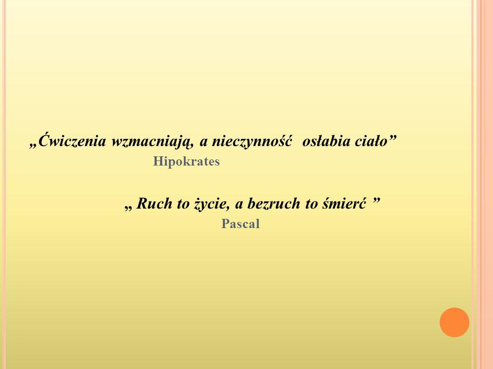 """""""Ćwiczenia wzmacniają, a nieczynność osłabia ciało"""" Hipokrates """" Ruch to życie, a bezruch to śmierć """" Pascal"""