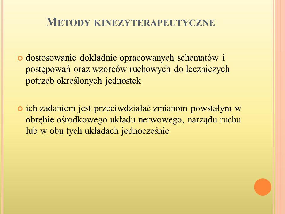 M ETODY KINEZYTERAPEUTYCZNE dostosowanie dokładnie opracowanych schematów i postępowań oraz wzorców ruchowych do leczniczych potrzeb określonych jedno