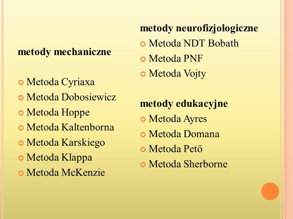 metody mechaniczne Metoda Cyriaxa Metoda Dobosiewicz Metoda Hoppe Metoda Kaltenborna Metoda Karskiego Metoda Klappa Metoda McKenzie metody neurofizjol