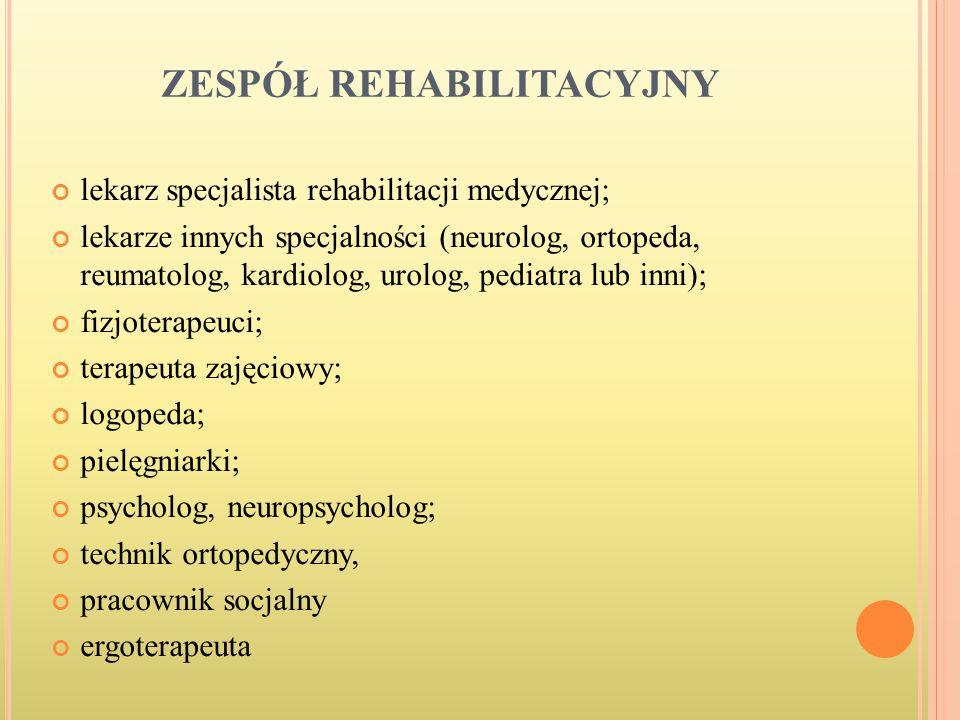 ZESPÓŁ REHABILITACYJNY lekarz specjalista rehabilitacji medycznej; lekarze innych specjalności (neurolog, ortopeda, reumatolog, kardiolog, urolog, ped