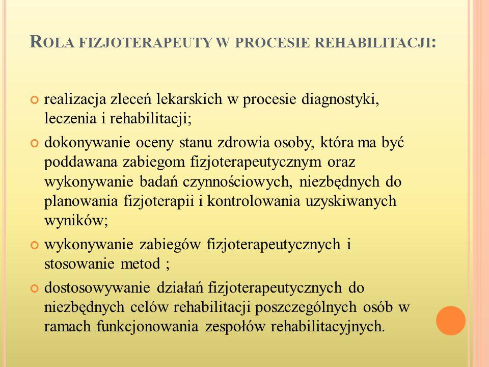 R OLA FIZJOTERAPEUTY W PROCESIE REHABILITACJI : realizacja zleceń lekarskich w procesie diagnostyki, leczenia i rehabilitacji; dokonywanie oceny stanu