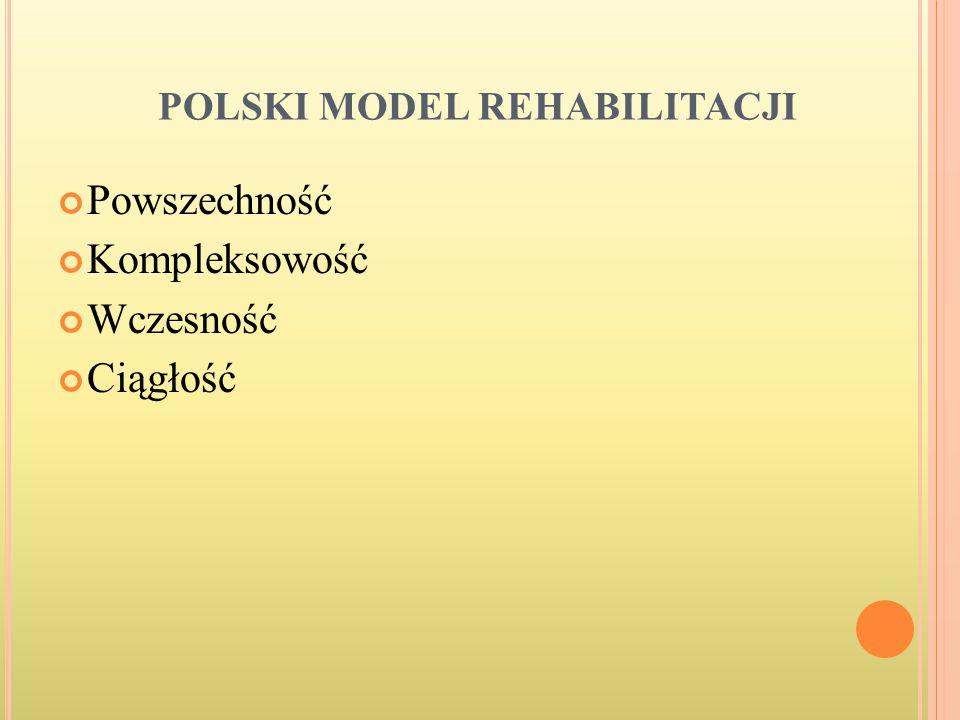 POLSKI MODEL REHABILITACJI Powszechność Kompleksowość Wczesność Ciągłość