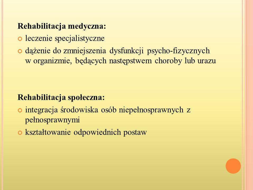 Rehabilitacja medyczna: leczenie specjalistyczne dążenie do zmniejszenia dysfunkcji psycho-fizycznych w organizmie, będących następstwem choroby lub u