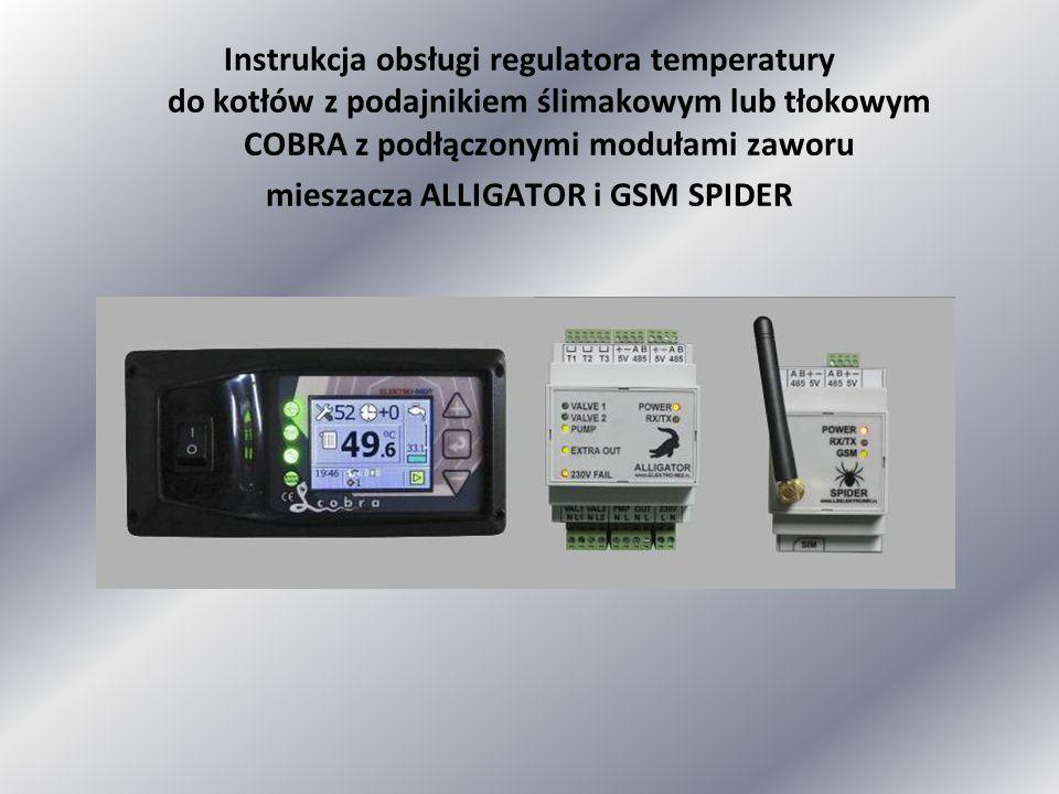 Instrukcja obsługi regulatora temperatury do kotłów z podajnikiem ślimakowym lub tłokowym COBRA z podłączonymi modułami zaworu mieszacza ALLIGATOR i G