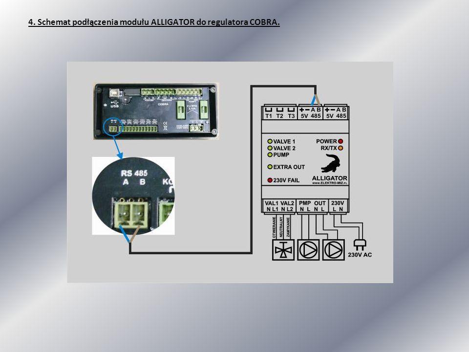 4. Schemat podłączenia modułu ALLIGATOR do regulatora COBRA.