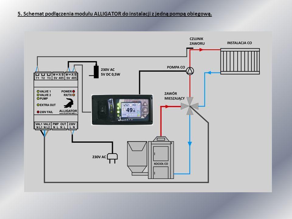 5. Schemat podłączenia modułu ALLIGATOR do instalacji z jedną pompą obiegową.