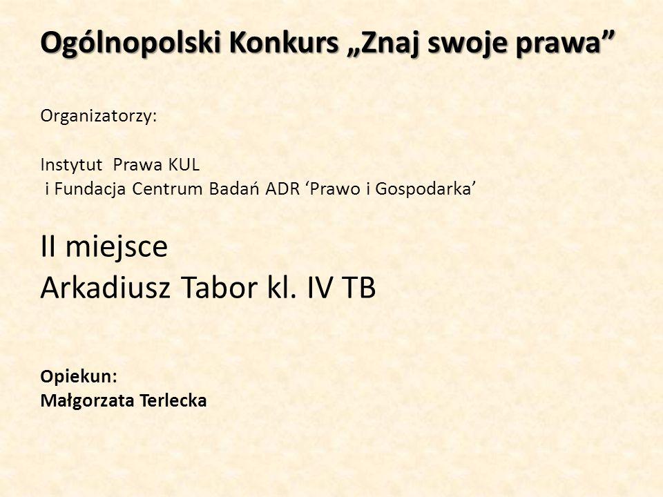 Olimpiada Przedsiębiorczości IX edycja Etap szkolny.