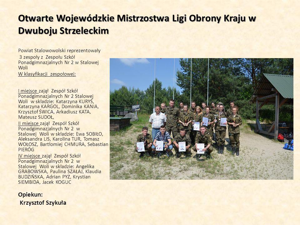 Otwarte Wojewódzkie Mistrzostwa Ligi Obrony Kraju w Dwuboju Strzeleckim Powiat Stalowowolski reprezentowały 3 zespoły z Zespołu Szkół Ponadgimnazjalny