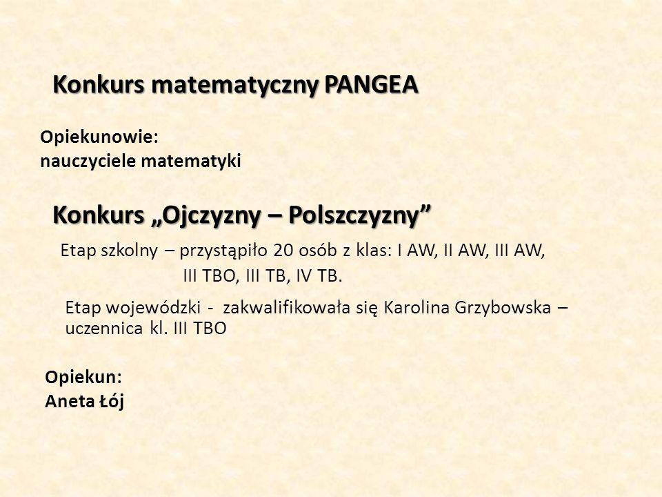 """Konkurs matematyczny PANGEA Konkurs matematyczny PANGEA Opiekunowie: nauczyciele matematyki Konkurs """"Ojczyzny – Polszczyzny"""" Etap szkolny – przystąpił"""
