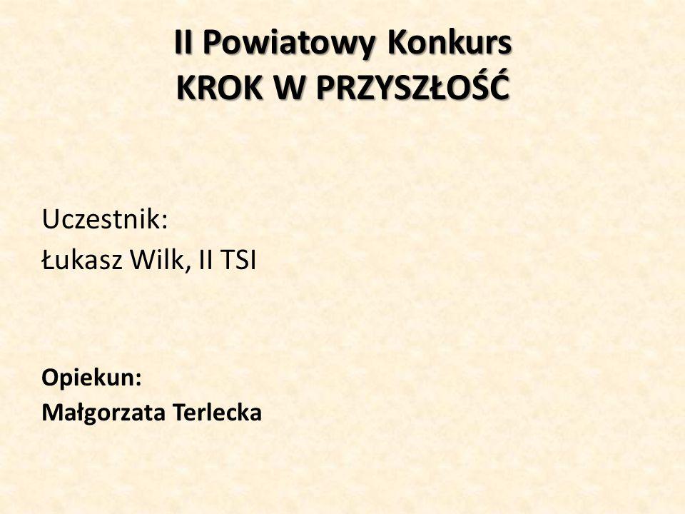 II Powiatowy Konkurs KROK W PRZYSZŁOŚĆ Uczestnik: Łukasz Wilk, II TSI Opiekun: Małgorzata Terlecka
