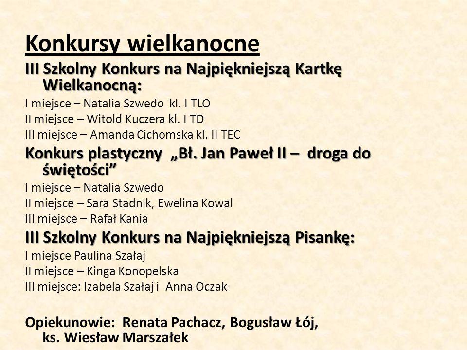 Konkursy wielkanocne III Szkolny Konkurs na Najpiękniejszą Kartkę Wielkanocną: I miejsce – Natalia Szwedo kl. I TLO II miejsce – Witold Kuczera kl. I