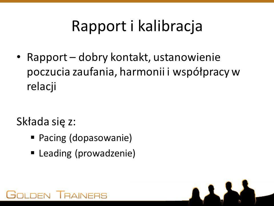 Rapport i kalibracja Rapport – dobry kontakt, ustanowienie poczucia zaufania, harmonii i współpracy w relacji Składa się z:  Pacing (dopasowanie)  L