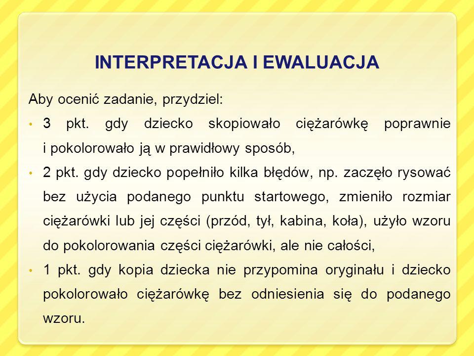 INTERPRETACJA I EWALUACJA Aby ocenić zadanie, przydziel: 3 pkt.