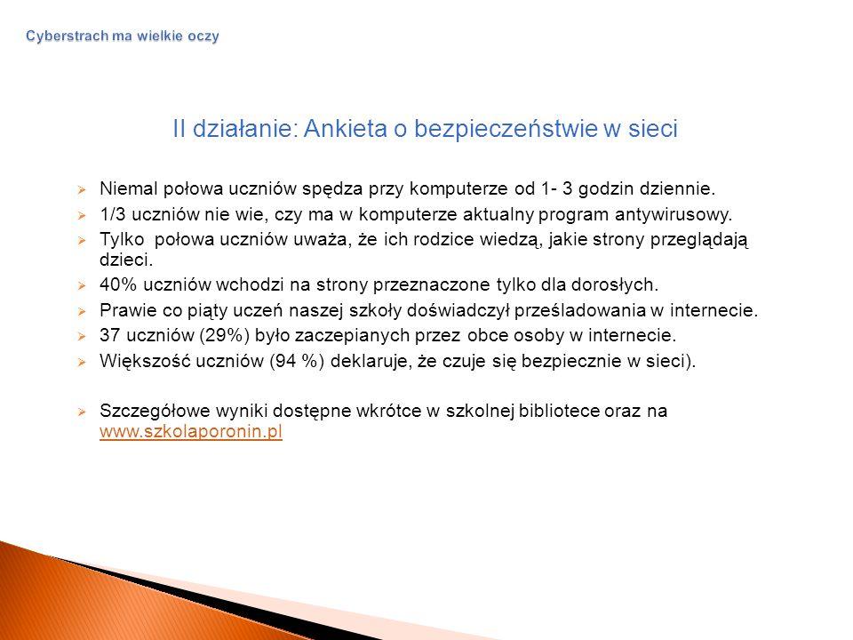 Cyberstrach ma wielkie oczy III działanie: Scenariusze filmowe na temat zagrożeń cyberprzestrzeni  Wielki rachunek (Weronika),  Kto jest po drugiej stronie.