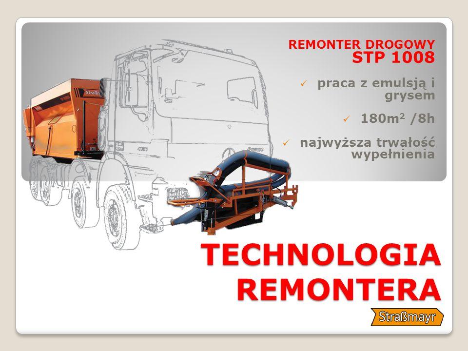 TECHNOLOGIA REMONTERA REMONTER DROGOWY STP 1008 praca z emulsją i grysem 180m 2 /8h najwyższa trwałość wypełnienia