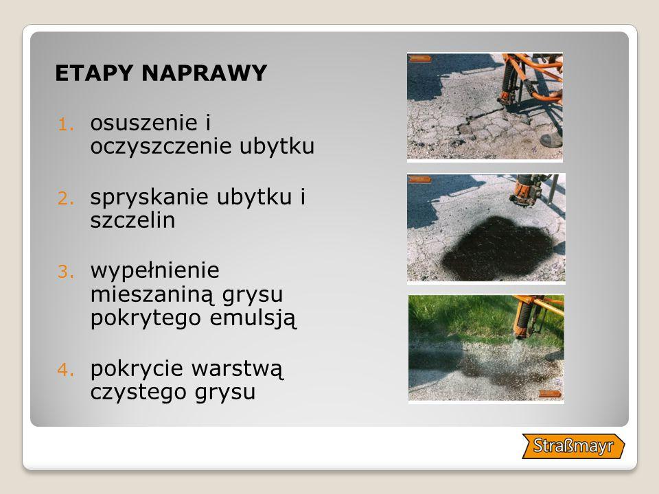 ETAPY NAPRAWY 1.osuszenie i oczyszczenie ubytku 2.