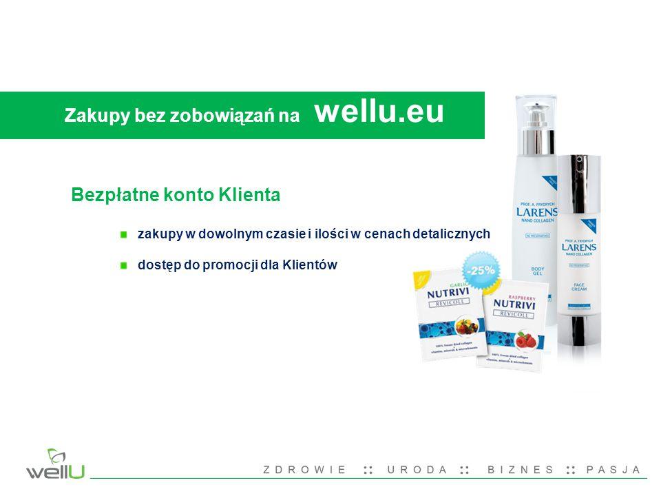 Zakupy bez zobowiązań na wellu.eu Bezpłatne konto Klienta zakupy w dowolnym czasie i ilości w cenach detalicznych dostęp do promocji dla Klientów
